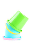 Plastic emmers Royalty-vrije Stock Foto's