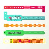 Set of isolated arm bracelets or wristlets. Plastic event access bracelets, wristlet for party entrance or wristband for concert backstage identification Stock Images
