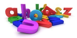 plastic färgglada bokstäver stock illustrationer