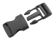 Plastic fastener for a backpack. Separately on white royalty free stock image