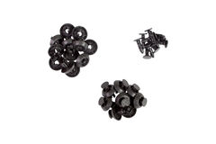 Plastic Fasteners isolated. Fasteners. Plastic clips for the car Stock Images