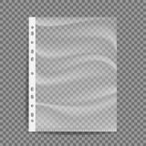 Cellophane Business File Vector. A4 Size. Empty Plastic Bag. Document Protector. Transparent Plastic Sleeve. Isolated On Royalty Free Stock Photos