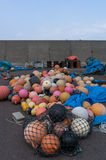 Plastic fishing floats. In a port. Taken in Shakotan, Japan Royalty Free Stock Photo