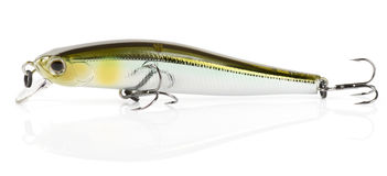 Plastic fishing lure (wobbler) isolated on white Stock Photo