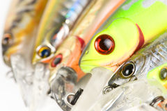Plastic fishing lures, extreme close-up Royalty Free Stock Photos
