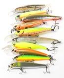 Plastic fishing lures macro shot Stock Photo