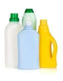 Plastic flaskor av cleaningprodukter Arkivbild