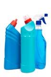 Plastic flaskor av cleaningprodukter Royaltyfri Foto