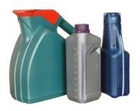 Plastic flaskor från biloljor Royaltyfria Bilder
