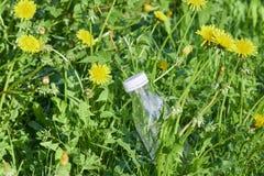 Plastic fles in groen gras in de bosmilieuvervuiling door plastiek bescherming van ecologie De Dag van de aardebescherming stock afbeelding