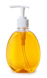 Plastic Fles met vloeibare zeep op witte achtergrond Royalty-vrije Stock Foto's