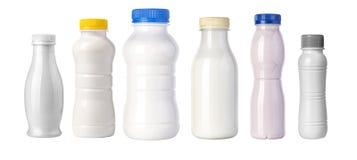 Plastic fles op wit royalty-vrije stock foto's