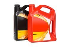 Plastic fles twee motorolie stock afbeelding