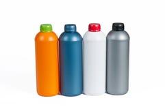 Plastic fles voor machineolie Stock Afbeeldingen