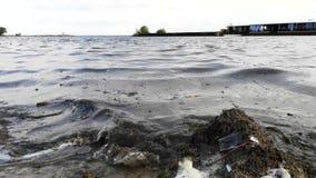 Plastic flessen en glazen op het zandige strand Vuil water waarin het zllichny huisvuil drijft Wit schuim op de kust stock video