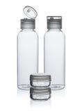 Plastic flessen en kruik voor schoonheidsmiddelen Stock Foto's