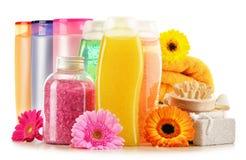 Plastic flessen van lichaamsverzorging en schoonheidsproducten royalty-vrije stock afbeeldingen