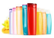 Plastic flessen van lichaamsverzorging en schoonheidsproducten Stock Foto