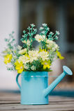 Plastic flower in blue pot Stock Image