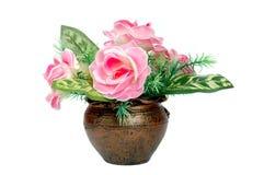 Plastic flower pot. Isolated on white background Royalty Free Stock Photo