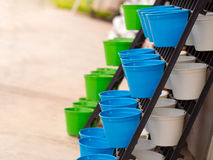 Plastic flower pot. Arranged in layers. Royalty Free Stock Images