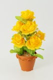 The Plastic flower in the pots on white background Royalty Free Stock Photos