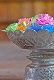Plastic flower in tray with pedestal Royalty Free Stock Image