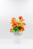 Plastic flower in vase Stock Photo