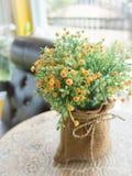 Plastic flower in vase Stock Photos