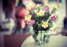Plastic flower in vase Royalty Free Stock Photography
