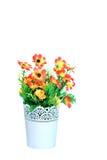 Plastic flower. In vase on white background Stock Images
