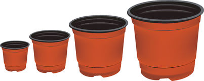 Plastic flowerpots  on a white background. Stock Image
