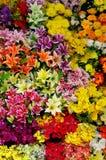 Plastic flowers background Stock Photo