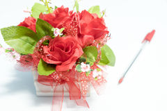 Plastic flowers with blur pen Stock Images