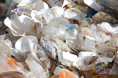 Plastic and foam garbage stock photo