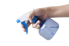 Plastic foggy sprayer bottle in hand Stock Photos