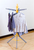 Plastic fold able cloth hanger Stock Image