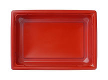 Plastic food box. Top view with clipping path isolated on white background Stock Photos