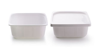 Plastic food box  on white background Royalty Free Stock Photo