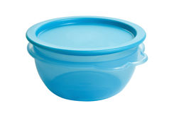 Plastic food container like tupperware. Isolated on white background Stock Photo