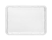 Plastic food tray. Top view with clipping path isolated on white background Stock Images