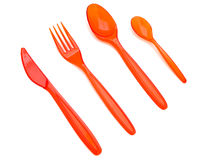 Plastic fork knife and spoons Royalty Free Stock Photos
