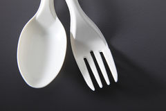 Plastic fork and spoon Stock Photos