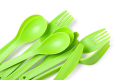 Plastic fork, spoon and knife Royalty Free Stock Photo