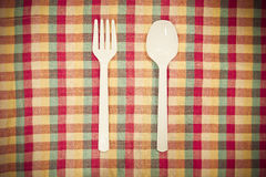 Plastic fork and spoon Royalty Free Stock Images