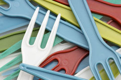 Plastic forks Stock Photos