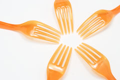 Plastic Forks. On white background Royalty Free Stock Images