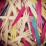 Plastic Forks. Close up of plastic forks - colourful Stock Images