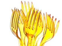 Plastic forks group Royalty Free Stock Photos