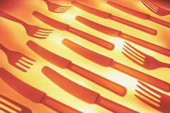 Plastic Forks and Knives Royalty Free Stock Photography